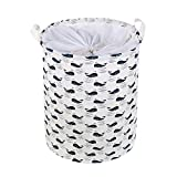 VOIMAKAS Collapsible Laundry Basket, Round Cotton Linen Dirty Clothes Hamper with Closing Top & Handle for Bathroom/Closet/Toys Storage - Whale