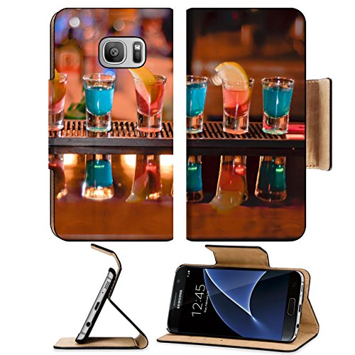 Luxlady Premium Samsung Galaxy S7 Flip Pu Leather Wallet Case IMAGE ID 7989476 Row of shots on the bar tequila and blue curacao