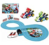 mario head - Carrera First Nintendo Mario Kart Slot Car Race Track - Includes 2 Cars: Mario and Yoshi and Two-Controllers - Battery-Powered Beginner Set for Kids Ages 3 Years and Up