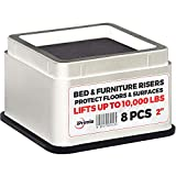 iPrimio Bed and Furniture Risers - 8 Pack Square Elevator up to 2' Per Riser and Lifts up to 10,000 LBs - Protect Floors and Surfaces - Durable ABS Plastic and Anti Slip Foam Grip - Stackable - White