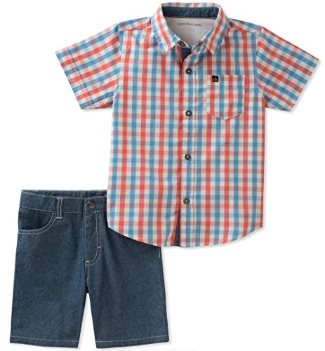 - Calvin Klein Baby Boys 2 Pieces Shirt Shorts Set, Blue/red, 3-6 Months