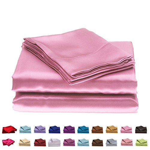 - Cloud Fino Hotel Quality Silky Soft Luxurious Satin 7 Pc Sheet Set Wrinkle & Fade Resistant, Hypoallergenic Breathable Durable Comfort Bedding Set with Duvet Set !!! Cal-Queen, Pink