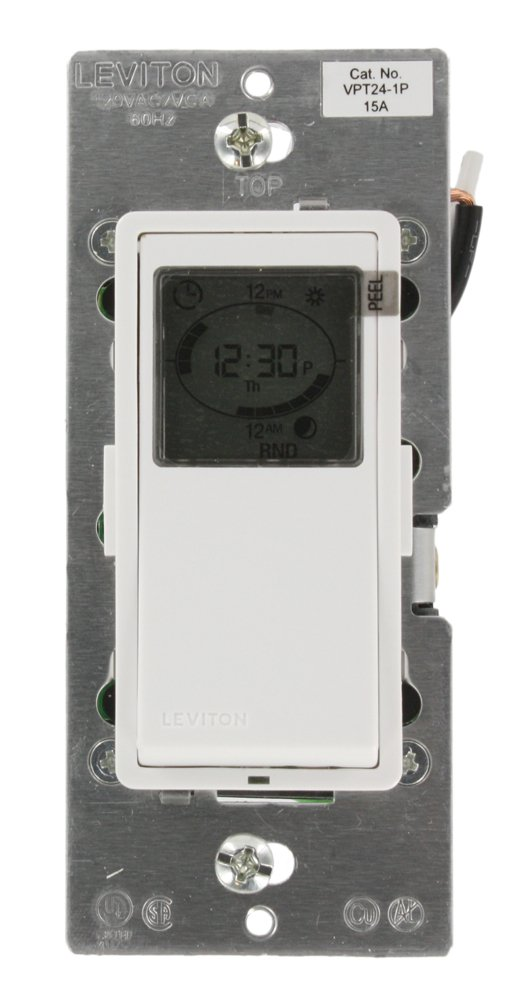 Leviton VPT24-1PZ Vizia 24-Hour Programmable Indoor Timer with ...