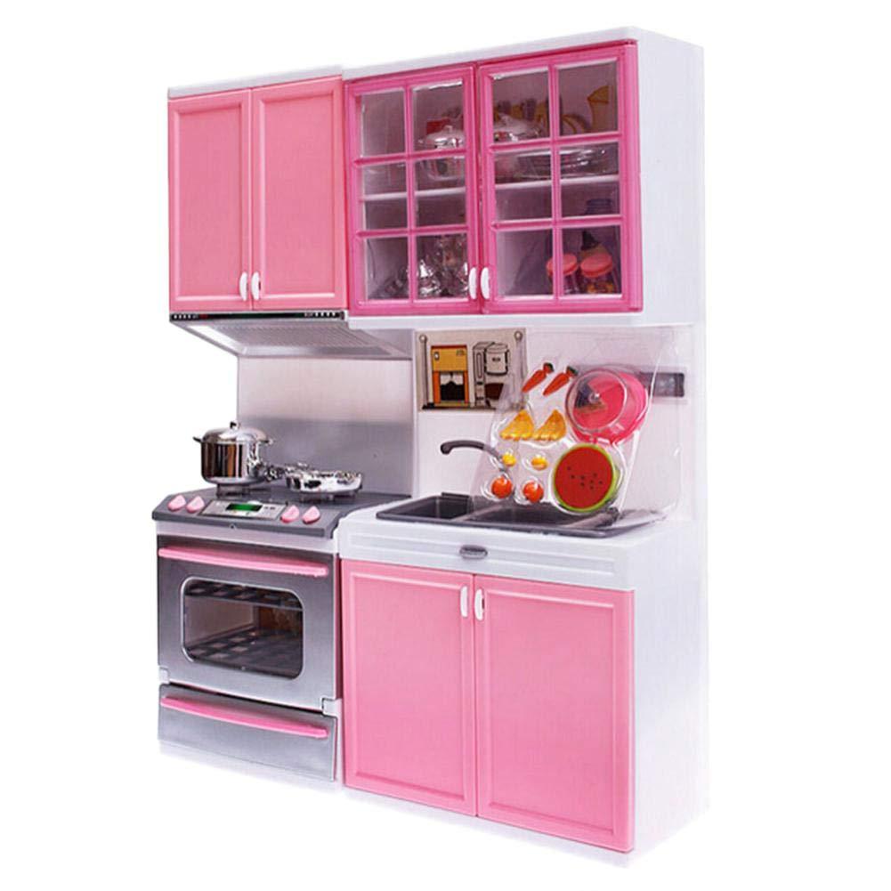 Color Rosa Juego de Cocina Infantil con Juguete Divertido para cocinar TODAYTOP