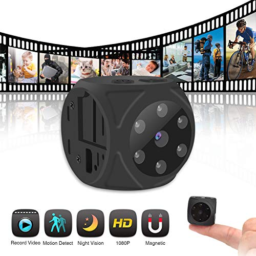 Hidden Camera,Mini Camera HD 1080P/720P Wireless Small Portable Night Vision Motion Detection Cam Built-in Magnetic&Wearable for Home, Car, Office and ()