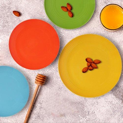 Melange 6-Piece  Melamine Dinner Plate Set (Solids Collection )   Shatter-Proof and Chip-Resistant Melamine Dinner Plates   Color: Multicolor by Melange (Image #3)