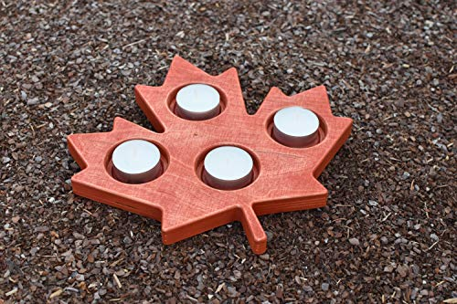 Advent Wood Candle Holder in Shape of Canada Maple Leaf - Patriotic Home Decor - Rustic Tea Light Candleholder - Rustic Wedding Table Fall Decor