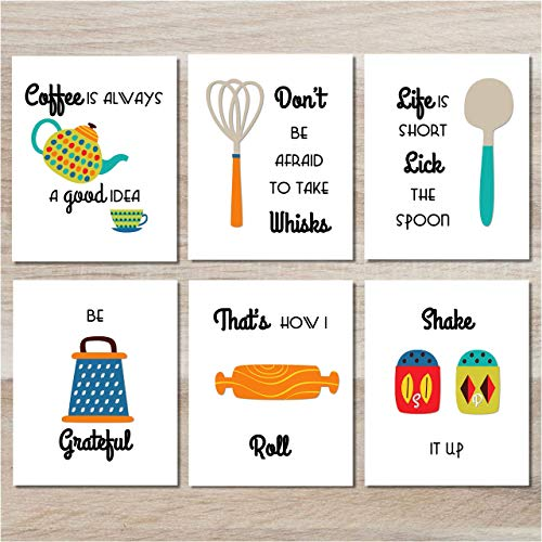 Kitchen Wall Decor - Funny Art Prints (Set of 6) - 8x10 - Unframed - Funny Food Signs