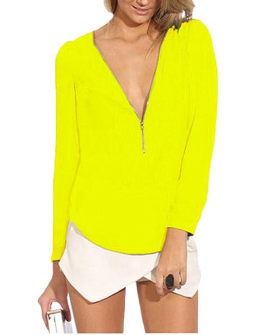 Mujeres Chiffon Blusa Camisa Manga Larga V Cuello Camiseta Top T Shirt Blouse Amarillo S