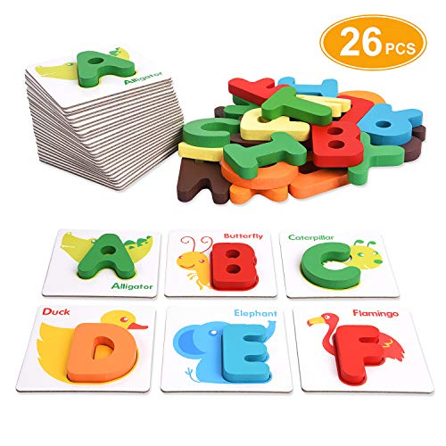 Alphabet Flash Cards, XREXS Toddler ABC Letters Learning Cards, Wooden Alphabet Letters Puzzle Educational Learning Toy for Kids Preschool Kindergarten (Large Alphabet Flash Cards)