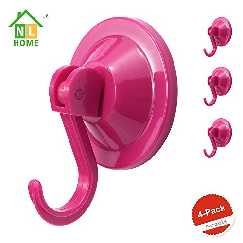 NL HOME 4-Pack Power Lock Suction Cup Hooks,Rose Red,by