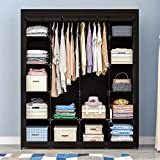 AOOU Portable Closet Organizer Storage, Wardrobe Closet with Non-Woven Fabric 14 Shelves, Quick and Easy to Assemble, 56 x 18.5 x 66 inches Black