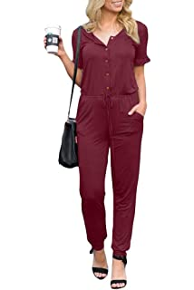 f9bc4dc034e Spadehill Women Casual Short Sleeve Button Down Jumpsuit with Pockets