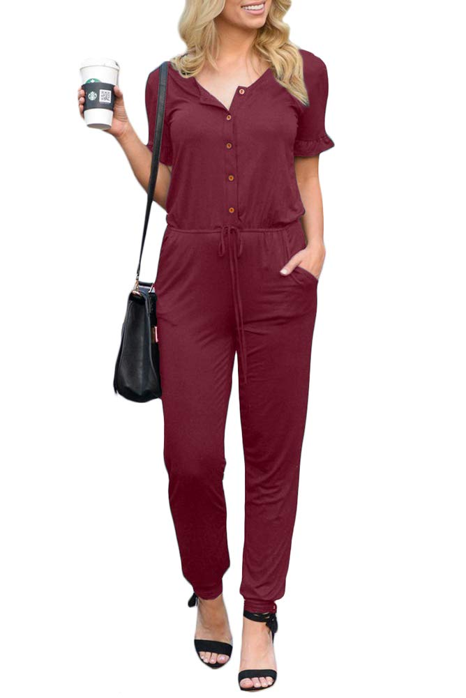 Women Casual Button Down Slim Ruffle Short Sleeve High Waisted Long Pants Jumpsuit Romper with Pockets Maroon S