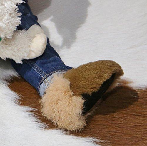 Hollert German Leather Fashion Baby Kaninchen Schuhe - HOPSI Fellschuhe Kinder Hausschuhe Braun