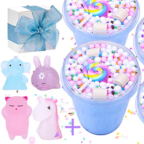 Satisfaction1 Blue Slime Unicorn Birthday Fluffy Putty,Charms Cotton Candy Cake Scented Non-Sticky ,DIY Stuff Stress Relief Toys 5oz for Girls and Boys Gift(4pcs Random moj moj Squishy Toys Include]()