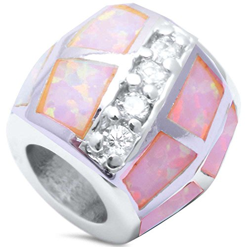 Oxford Diamond Co Sterling Silver Trendy Opal Cubic Zirconia Charm Pendant Bead Three Colors (Lab Created Pink Opal)