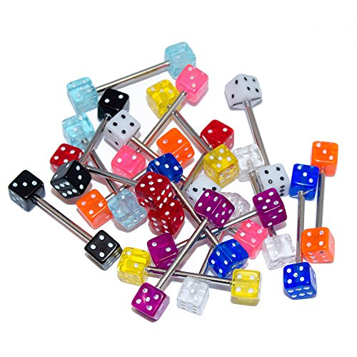 Lot of 20 Tongue Piercing Barbells 14G Surgical Steel Barbell Acrylic Dice Ends Acrylic Dice Barbells