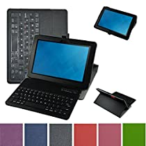 Mama Mouth Coustom Design Slim Stand PU Leather Case Cover With Romovable Bluetooth Keyboard For New Dell Venue 10 5050 Android Tablet / Venue 10 Pro 5055 Windows Tablet,Black