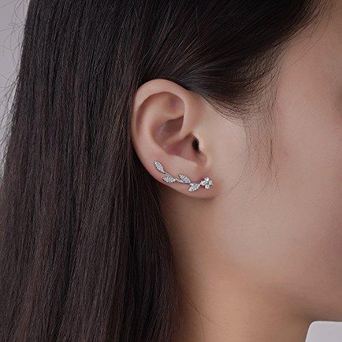 Ear Crawler Earrings for Women Ear Climber Cuff Earrings Silver Leaf CZ by DIDa (Image #1)