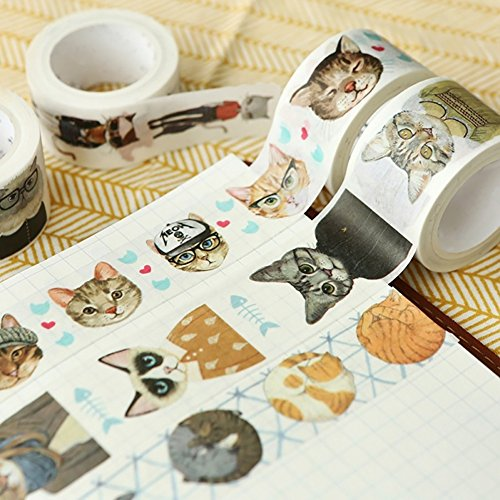 Lovely Cartoon Cat Adhesive Washi Tape DIY Scrapbooking Card Decorative Tape Sticker (2#) by mosichi (Image #2)