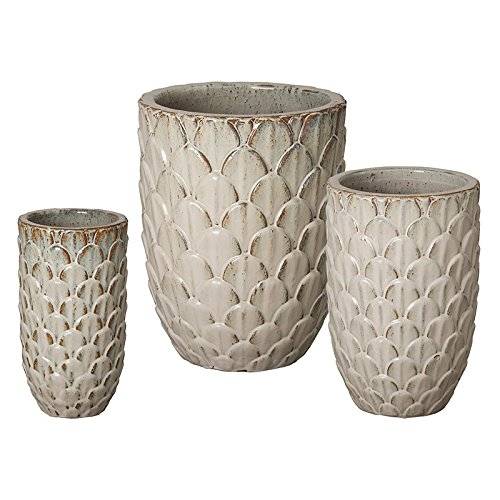 Pinecone Ceramic Planters - Antique White (set of 3) by Emissary