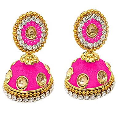 105c2217c Buy Hot Selling Beautiful Designer Silk Thread Earring Jhumka Pink Color  Online at Low Prices in India | Amazon Jewellery Store - Amazon.in