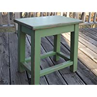 Distressed green wood side table - small end table
