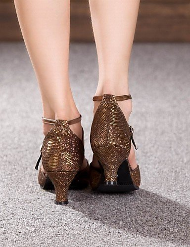 ShangYi Non Customizable Womens Dance Shoes Modern Sparkling Glitter/Paillette Cuban Heel More Colors Brown