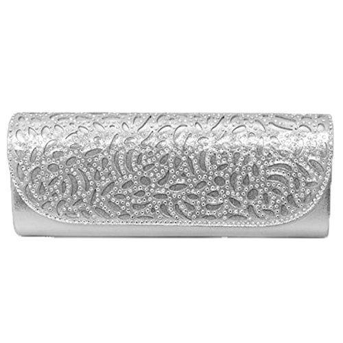 Fantasia Boutique FLC111 Denton Rhinestone Strap Diamante Peep Toe Wedge Sandals Clutch Bag Silver (BAG ONLY) 6wbVwDv