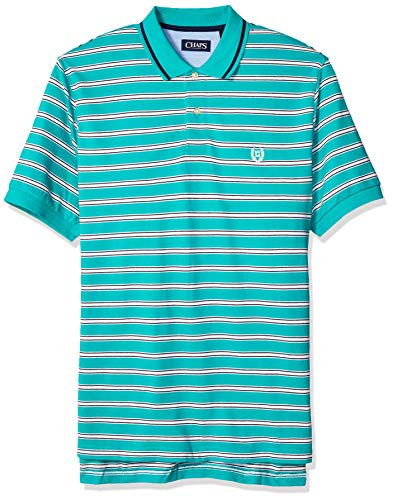 Chaps Men's Classic Fit Striped Cotton Mesh Polo Shirt, Spring Emerald Multi, -