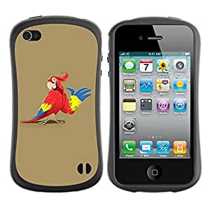 Paccase / Suave TPU GEL Caso Carcasa de Protección Funda para - Friendly Parrot - Apple Iphone 4 / 4S