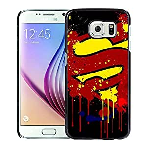 Paint Splash Superman Logo Black Cool Customized Design Samsung Galaxy S6 Case