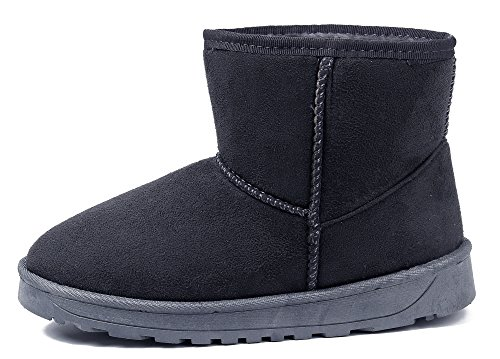 AgeeMi Shoes Botas Mujer Short Classic Fur Lined Invierno Clásicas Nieve Botas Gris Oscuro