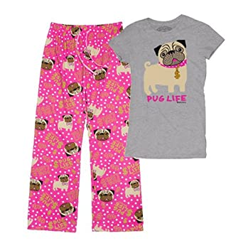 Made from cotton rich jersey with a hint of stretch, these fun pyjamas from F&F are the perfect pick for pug lovers. The top is cut with a scoop neck and cap sleeves with a comical pug print and Part-Time Unicorn slogan.