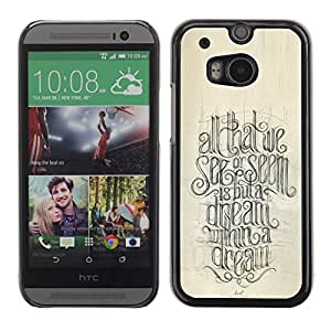 Caucho caso de Shell duro de la cubierta de accesorios de protección BY RAYDREAMMM - HTC One M8 - Motivational Quote Calligraphy