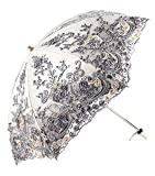 Apiidoo Twice Folding Gothic Umbrella 3D Flowers Embroidery Lace Sun UV Parasol Gray