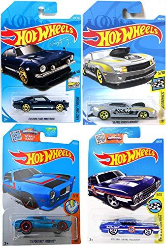 Muscle Hot Wheels Cars MoonEyes Racing Team Pro Stock Camaro Speed Graphics / Pontiac Firebird Mania / Ford Gran Torino / Custom Maverick Factory Fresh 2018 4 Die-Cast Bundle - Porsche Road Racing Set