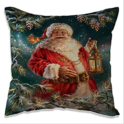 OUYAWEI Christmas Cotton Linen Pillow Case Cushion Cover for Car Sofa Christams Gifts (Excluding Pillow Insert) 4545cm Christmas 4: Home & Kitchen
