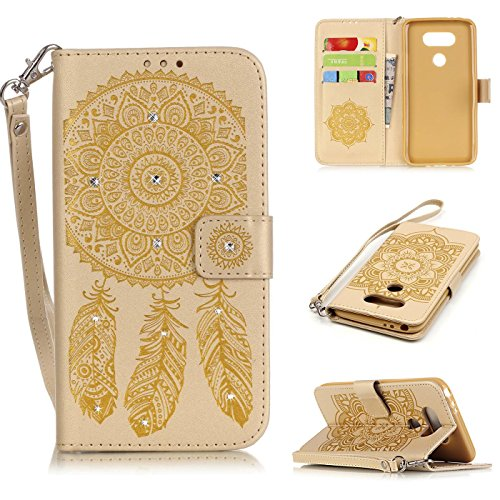 LG G5 case, Firefish [Card Slots] [Kickstand] Flip Folio Wallet Case of Campanula Embossed and Shining Diamond Scratch Resistant Protective Cover for LG (Headlamps Crystal Diamond)