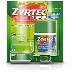 Zyrtec Prescription-Strength Allergy Medicine Tablets With Cetirizine, 30 Count, 10 mg