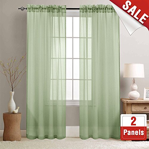 Rod Pocket Sheer Curtains for Living Room Curtain Sheers for Bedroom 84 inches Long Voile Window Curtain Panels (2 Panels, Sage)