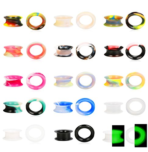 - LOYALLOOK 30Pcs Soft Silicone Ear Gauges Flesh Tunnels Plugs Stretchers Expander Ear Piercing Jewelry Mixed Color Set Flexible Thin Ear Plugs 18mm