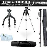 Triple Tripod Kit for Samsung NX300 NX300M DV150F WB30F WB250F WB800F Galaxy Camera, NX1100 NX2000, Galaxy NX, NX30 WB35F WB50F WB150F WB1100F, WB2200F, WB350F, NX Mini, NX3000, NX3300, NX1, NX500