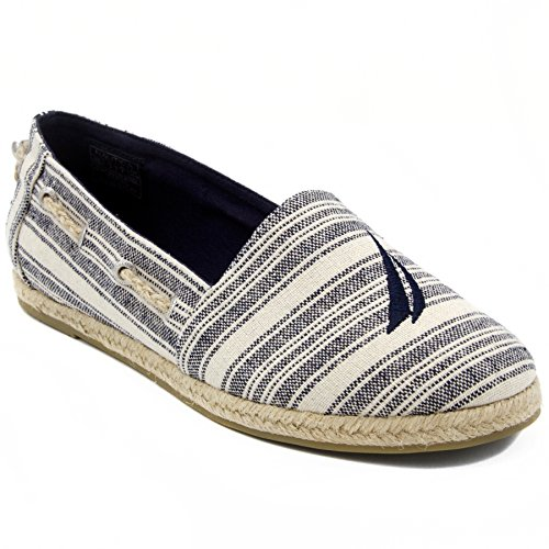 Canvas Stitching Rope Nautica Shoe Espadrille Stripe Class With Rudder Navy Casual J Flat Women's Slip On xwYqA7wCf