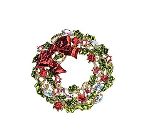 (Fashion Style for Home Rhinestones Christmas Garland Wreath Christmas Brooch Pin Xmas Party Favor Gift (Color : Gold) )