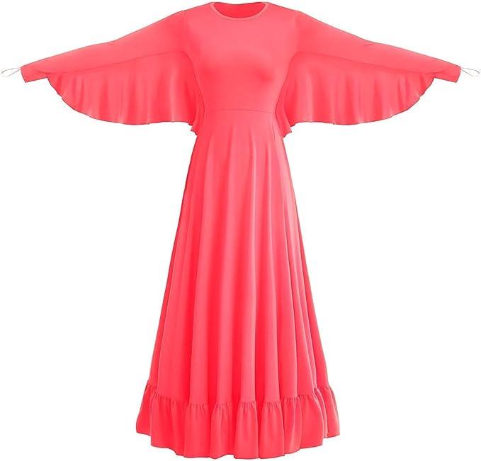 Womens Angel Wing Worship Liturgical Praise Dance Dress Loose Fit Full Length Ruffle Tunic Maxi Dancewear Ballet Gown