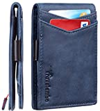 Travelambo Mens RFID Blocking Front Pocket Minimalist Slim Genuine Leather Wallet Pull Tab Money Clip (Vintage Blue Navy)