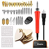 Wood Burning Kit, Preciva Multifunctional Soldering Iron Set Temperature Adjustable Pyrography Kit with Iron Tips, Solder Sucker, Tin Wire Tube, Soldering Iron Stand and PU Case for Soldering Cutting and Carving (Red)