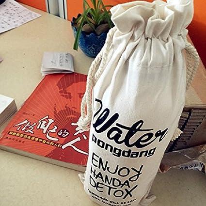 Auntwhale portátil al aire libre Bolsa de botella transparente Copa de agua Bolsa de lona Deporte